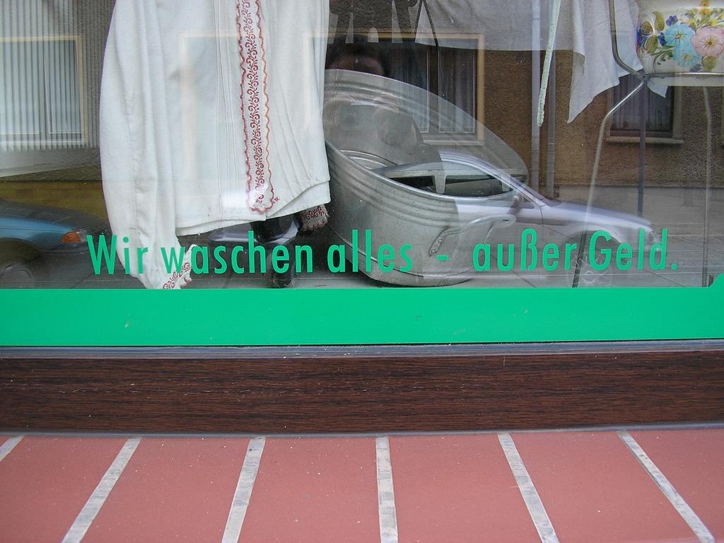 Werbespruch einer Wäscherei in Pritzwalk
